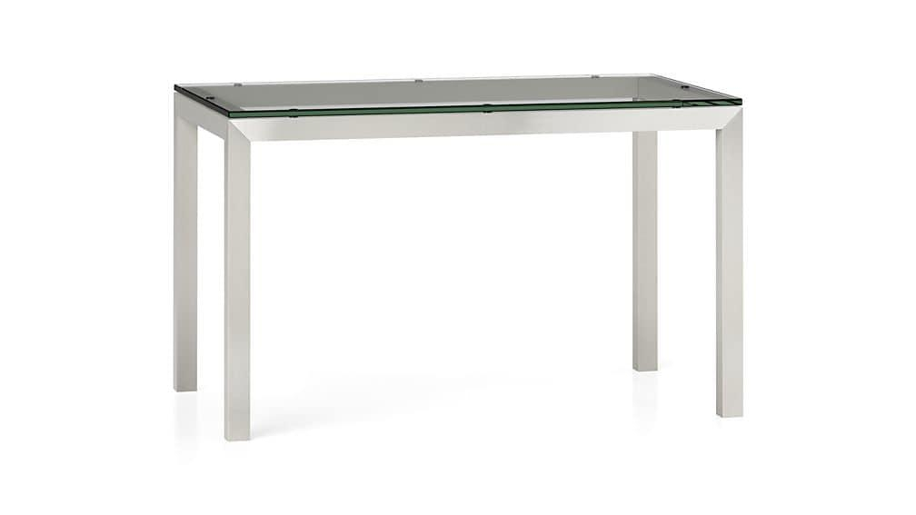 Parsons Clear Glass Top/ Stainless Steel Base 48X28 Dining Table In Glass And Stainless Steel Dining Tables (Image 14 of 20)