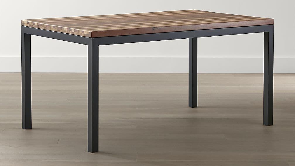 Parsons Reclaimed Wood Top/ Dark Steel Base Dining Tables | Crate With Dark Wooden Dining Tables (View 20 of 20)