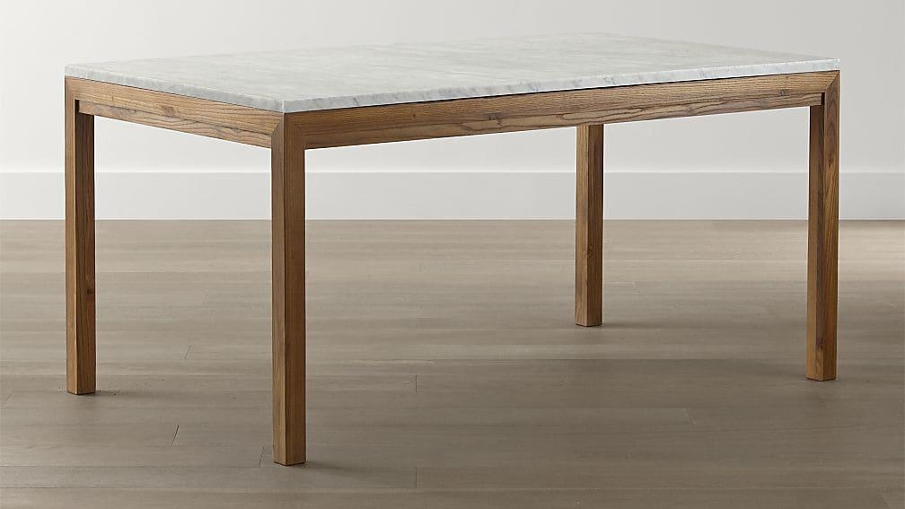 Parsons White Marble Top/ Elm Base Dining Tables | Crate And Barrel In White Melamine Dining Tables (View 16 of 20)