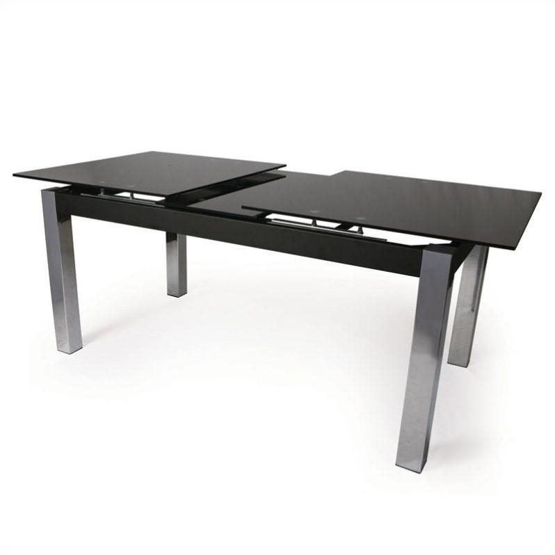 Pastel Furniture Monaco Rectangular Dining Table In Black Glass Within Monaco Dining Tables (Image 20 of 20)