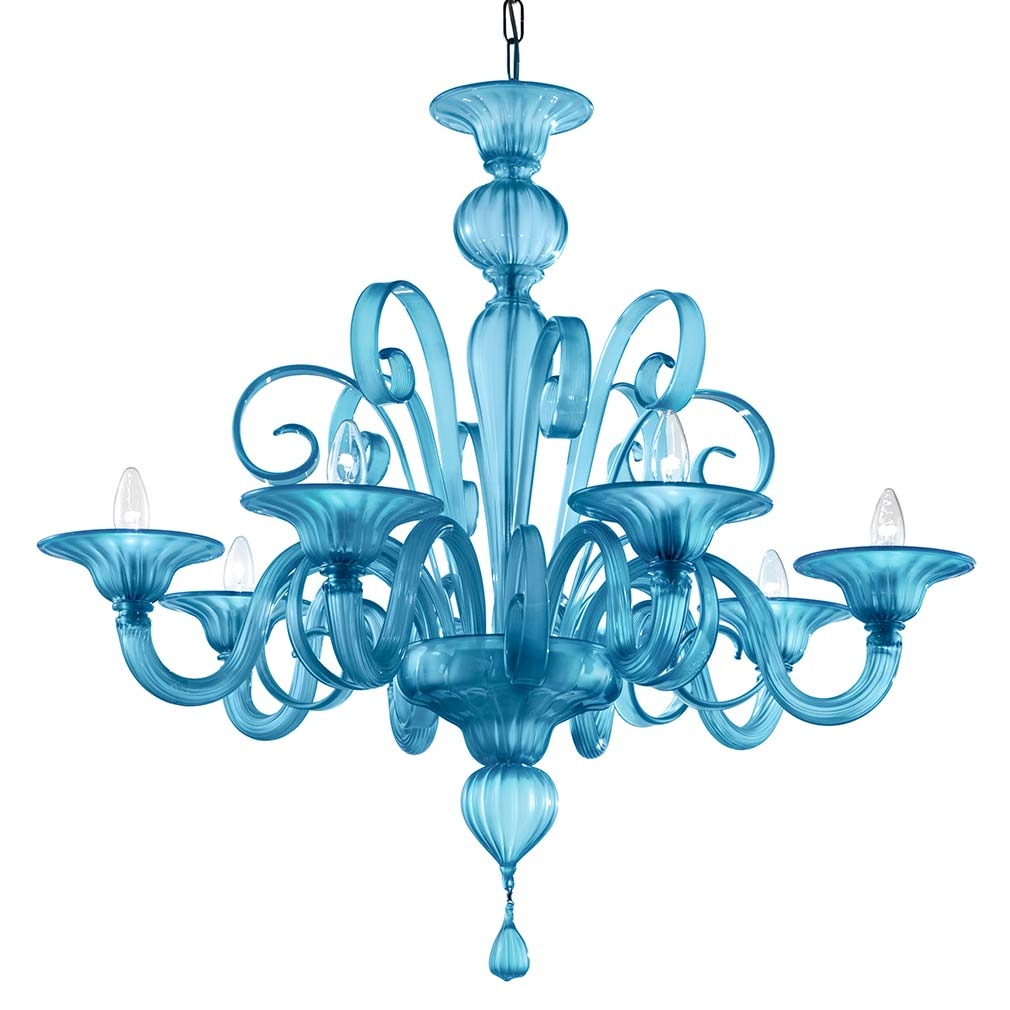 Pastorale Suso Chandelier Murano Glass Chandeliers With Turquoise Blue Glass Chandeliers (Image 18 of 25)