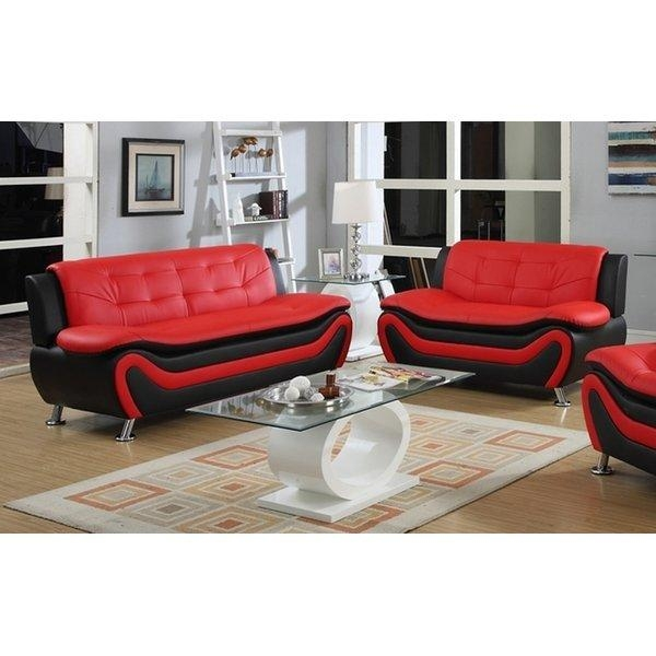 Pdaeinc Roselia 2 Piece Sofa Set | Wayfair For Black And Red Sofa Sets (Image 11 of 20)