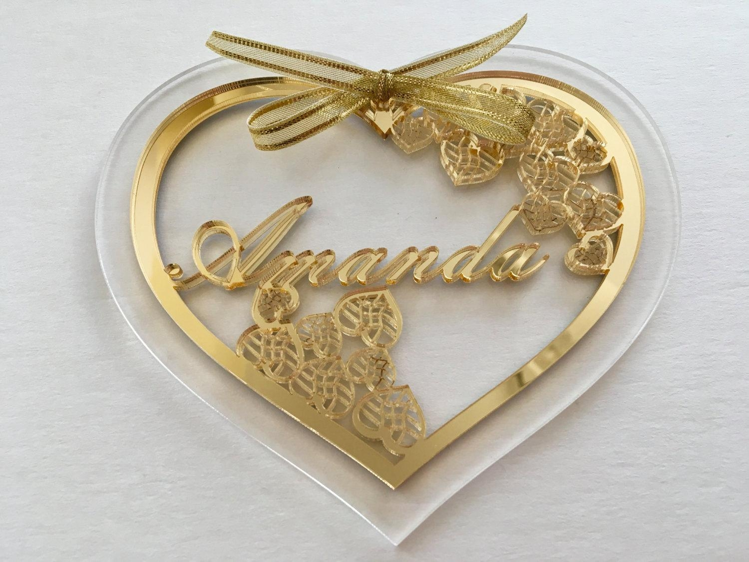 Personalized Mothers Day Gift, Gift For Her, Personalised Name Tag Intended For Gold Heart Mirror (View 11 of 20)