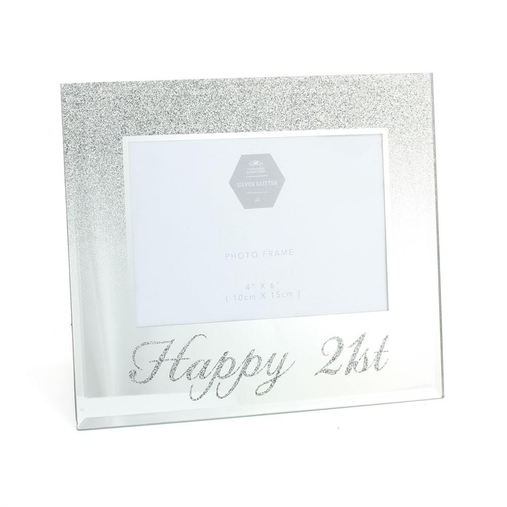 Photo Frame – 21St Birthday – Silver Mirror Glitter Frame – 4X6 Inch Intended For Glitter Frame Mirror (Image 13 of 20)