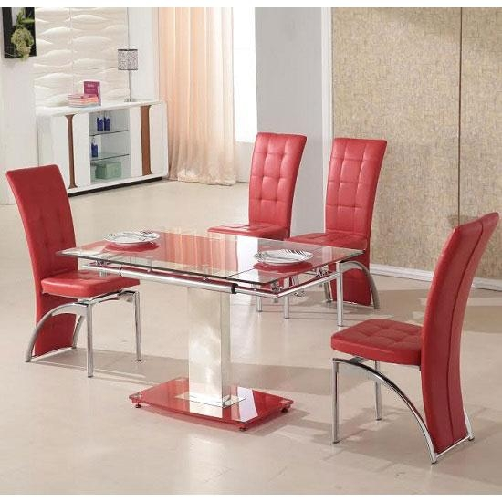 Picasso 4 Seater Extending Glass Dining Set In Red And Throughout Red Dining Table Sets (View 17 of 20)