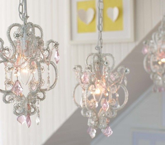 Pink Chandelier For Girls Room Pretty Pink Nursery Ba Nursery Within Chandeliers For Kids (Image 21 of 25)