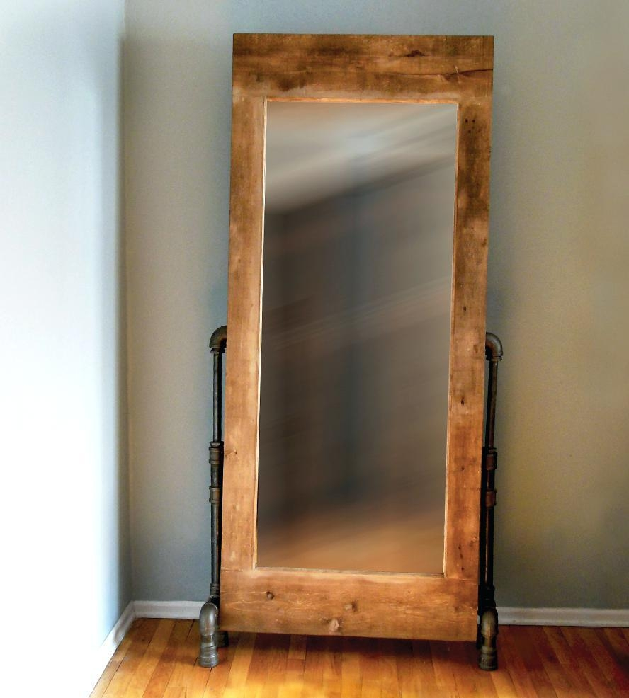 Pipe Legs Wood Frame Mirrorwooden Framed Mirrors Ikea Oak Mirror With Regard To Large Oak Mirrors (Image 18 of 20)
