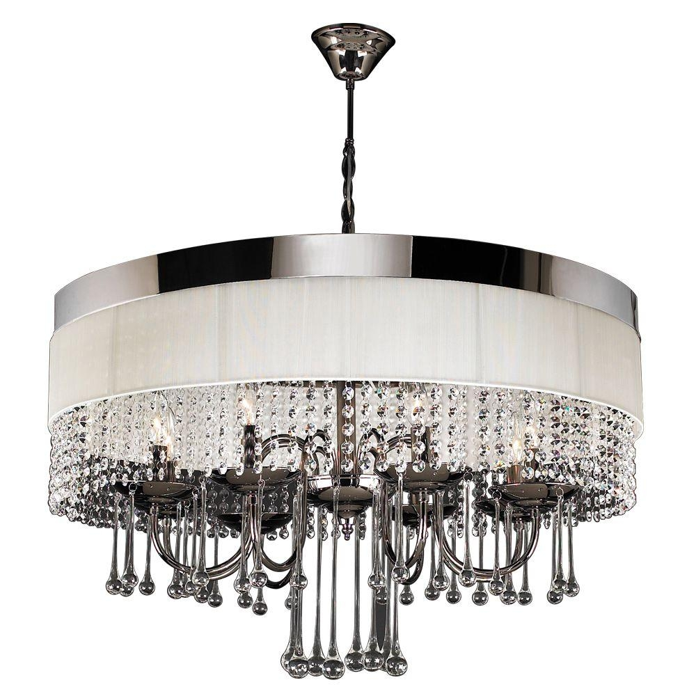 Plc Lighting 8 Light Black Chrome Chandelier With Off White Linen Intended For Linen Chandeliers (Image 19 of 25)