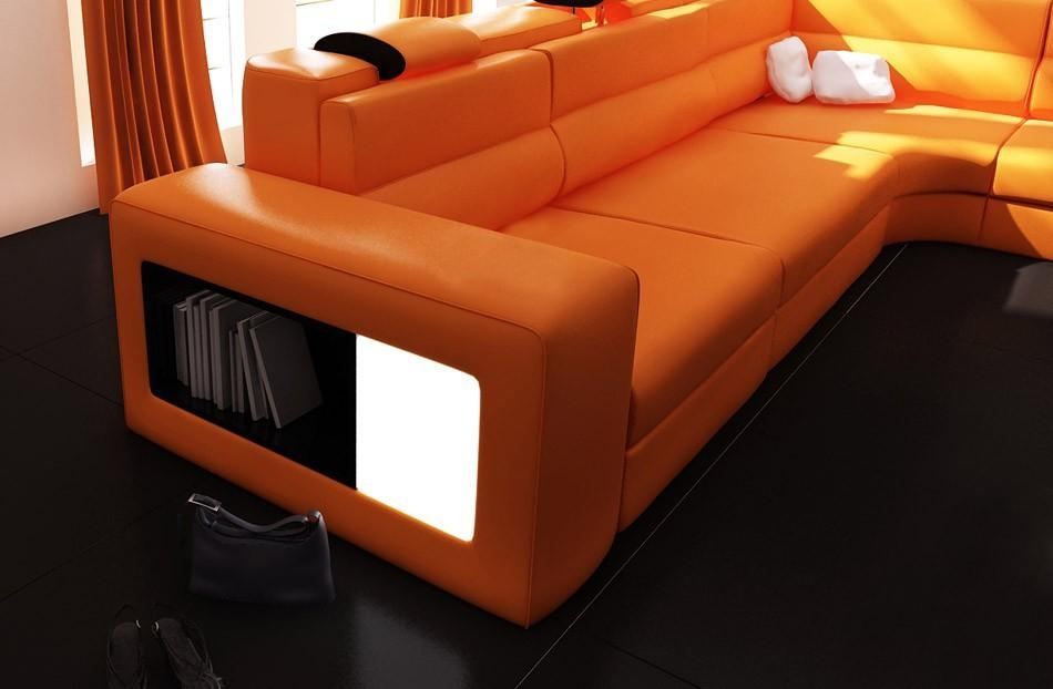 Polaris Orange Italian Leather Sectional Sofa Intended For Orange Sectional Sofas (View 17 of 20)