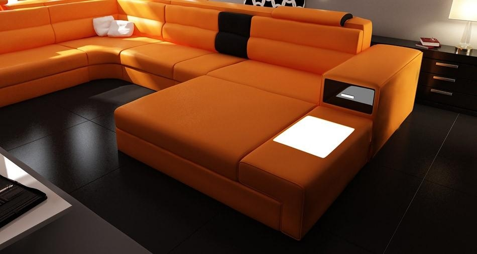 Polaris Orange Italian Leather Sectional Sofa Regarding Orange Sectional Sofas (View 7 of 20)