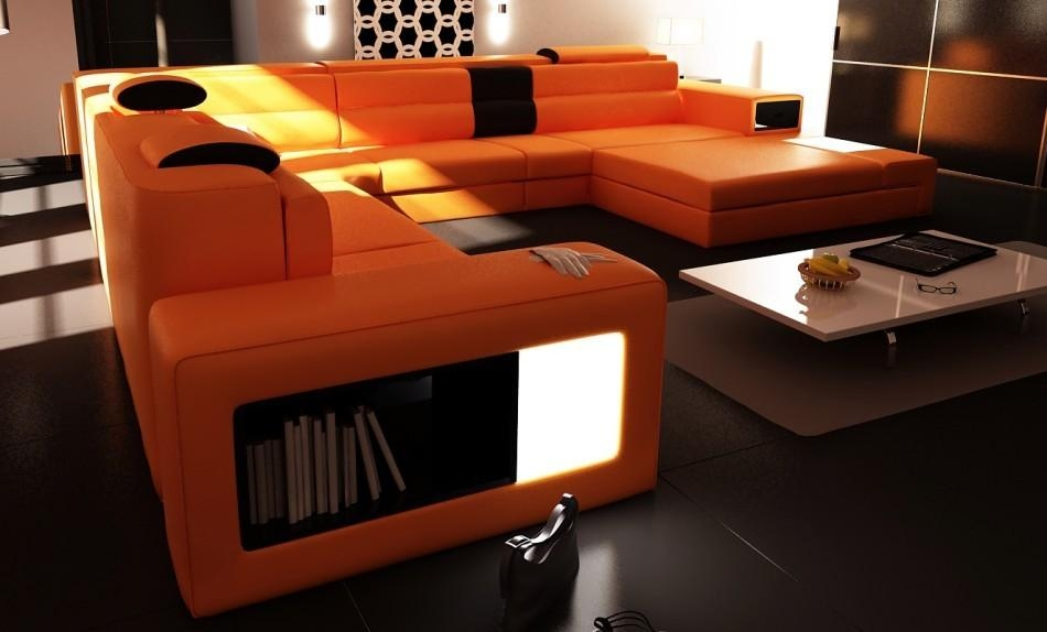 Polaris Orange Italian Leather Sectional Sofa With Regard To Orange Sectional Sofas (View 10 of 20)