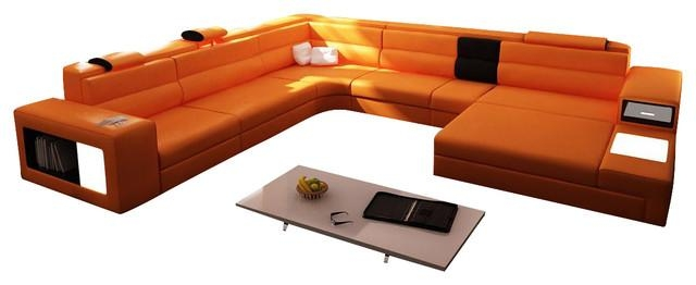 Polaris Orange Top Grain Italian Leather Sectional Sofa Intended For Orange Sectional Sofas (View 12 of 20)