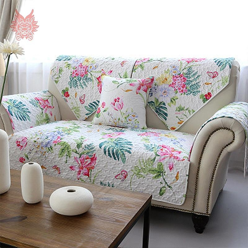 Popular Floral Print Quilting Sofa Cover Buy Cheap Floral Print In Floral Sofa Slipcovers (View 12 of 20)