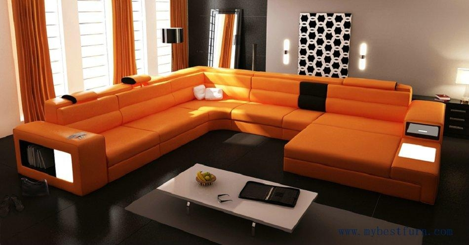 Popular Modern Orange Sofa Buy Cheap Modern Orange Sofa Lots From Intended For Orange Modern Sofas (View 2 of 20)
