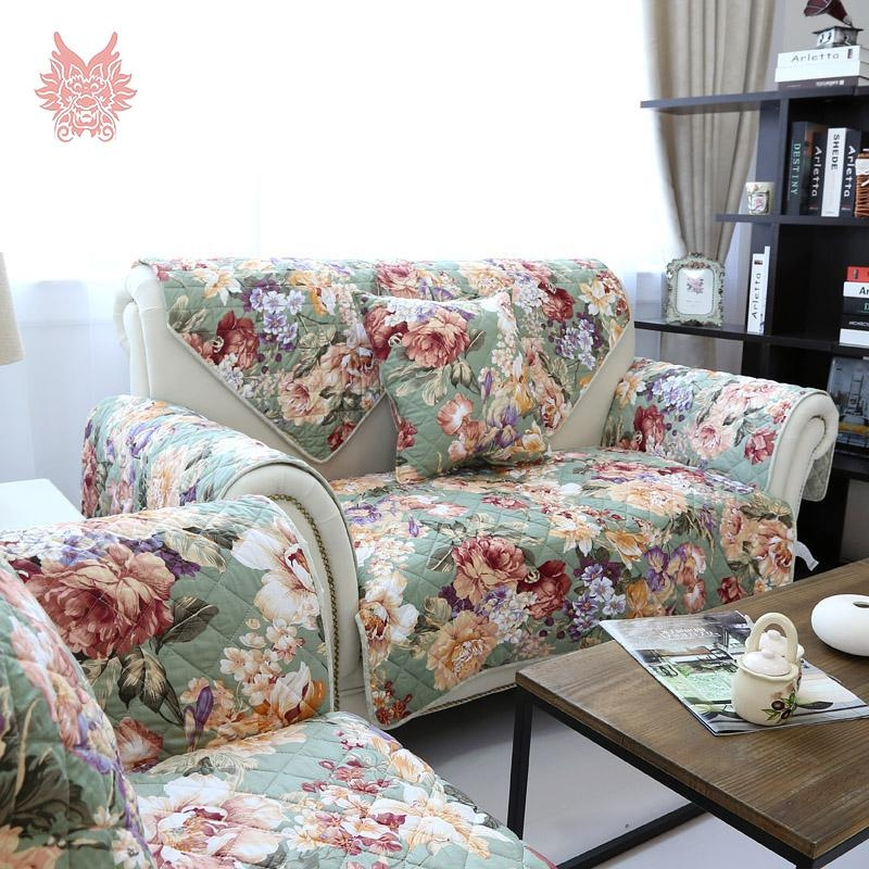 Popular Sofa Covers Green Buy Cheap Sofa Covers Green Lots From Pertaining To Floral Sofa Slipcovers (View 4 of 20)