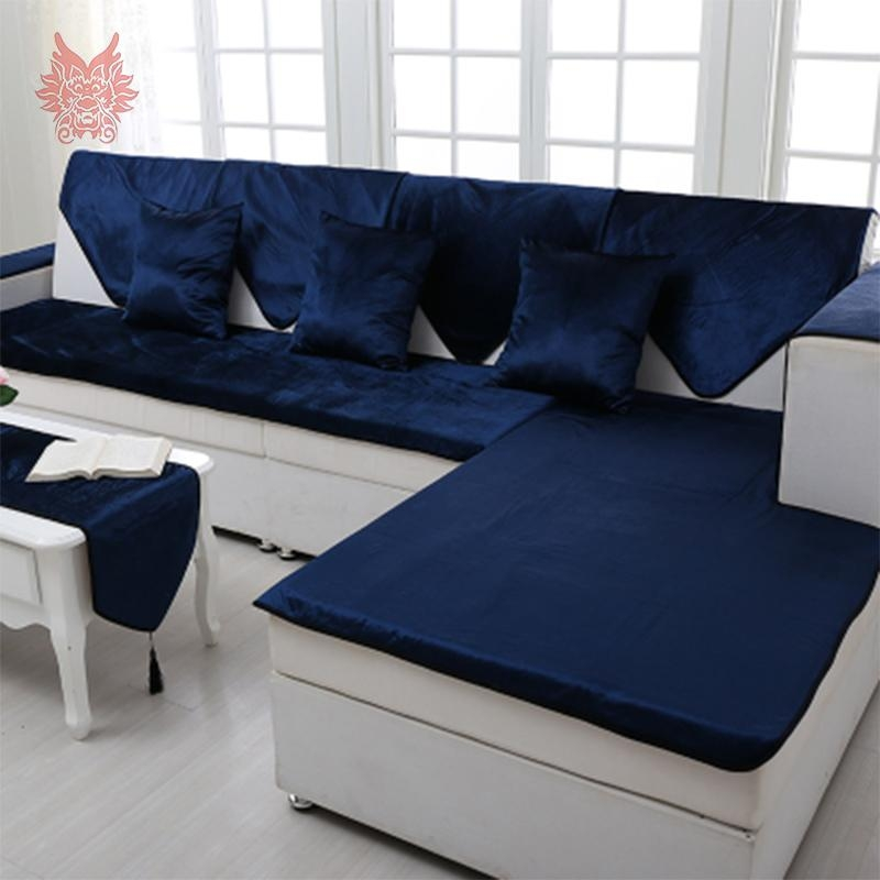 Popular Velvet Sofa Slipcover Buy Cheap Velvet Sofa Slipcover Lots Regarding Blue Slipcover Sofas (Image 18 of 20)