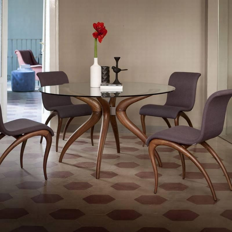 Porada Retro Round | Dining Table | Glass | Dining Room Furniture Regarding Retro Glass Dining Tables And Chairs (Image 7 of 20)