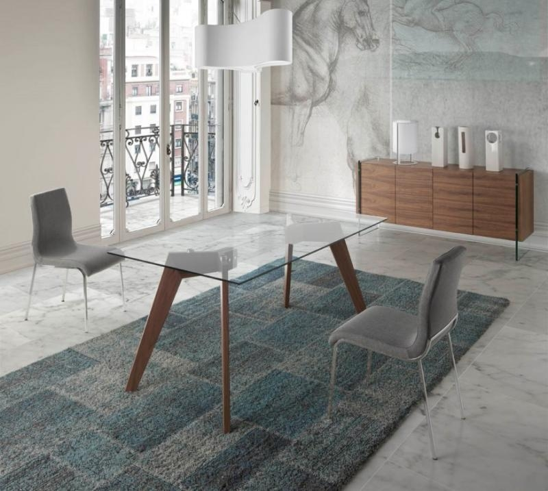 Porto Lujo, Vienna, Contemporary Glass Top Dining Table, Walnut With Regard To Vienna Dining Tables (Image 9 of 20)