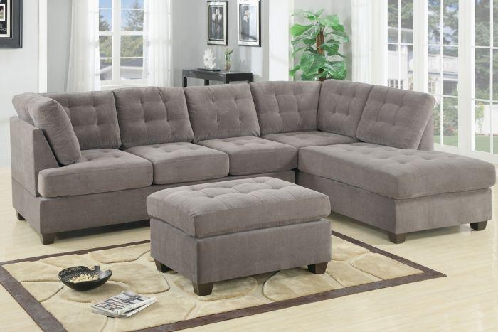 Poundex F7139 Waffle 2 Pieces Sectional Sofa Reversible Chaise Regarding 2 Piece Sectional Sofas (Image 17 of 20)