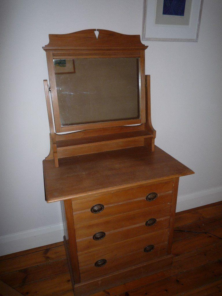 Pretty Pine Dressing Table And Drawers, With Mirror And Art With Regard To Art Nouveau Dressing Table Mirror (Image 16 of 20)