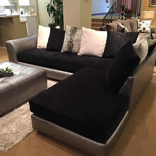 Product Reviews | Buy Roundhill Furniture Shimmer Pewter Within Black Microfiber Sectional Sofas (Image 16 of 20)
