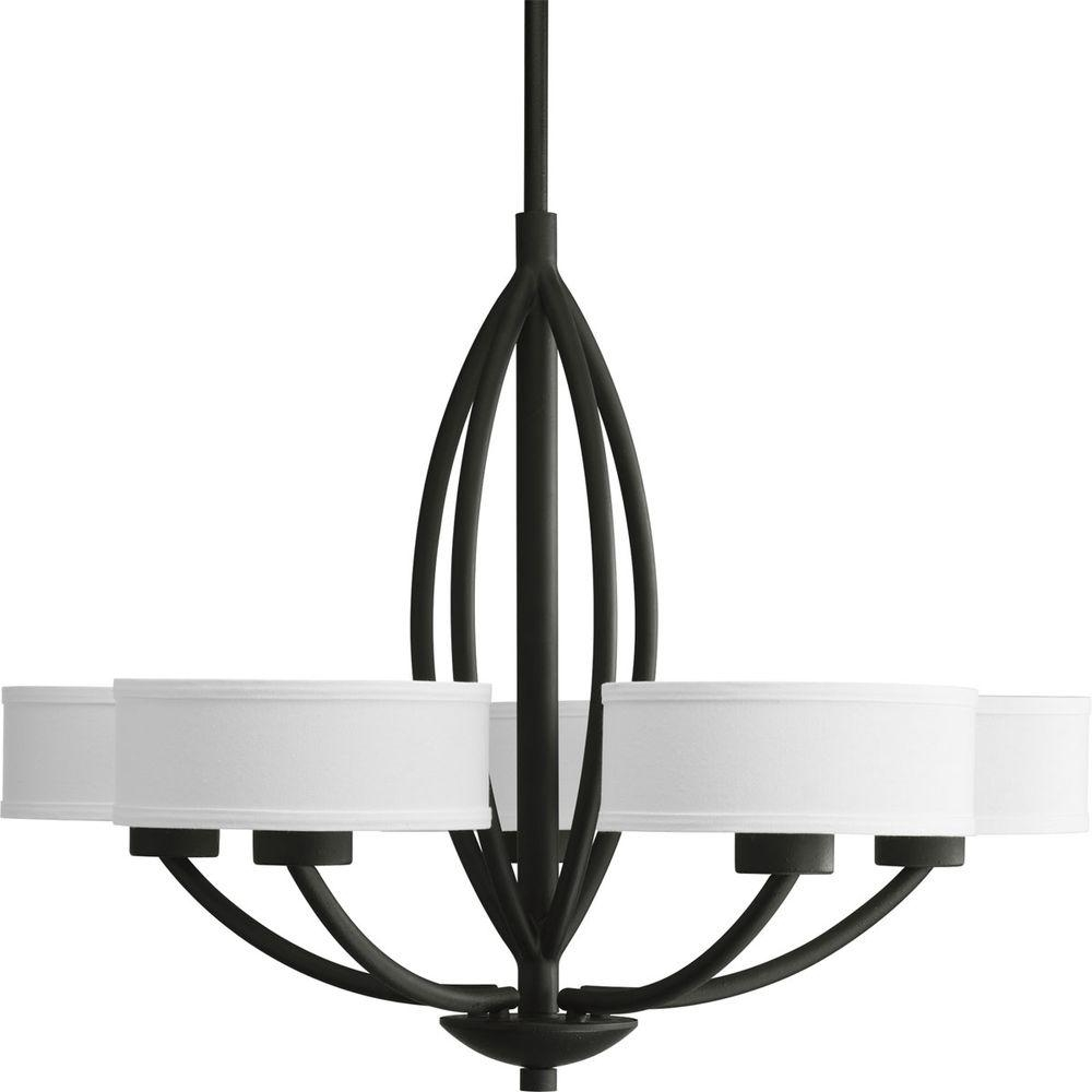 Progress Lighting Calven Collection 5 Light Forged Black Intended For Black Chandeliers With Shades (Image 21 of 25)