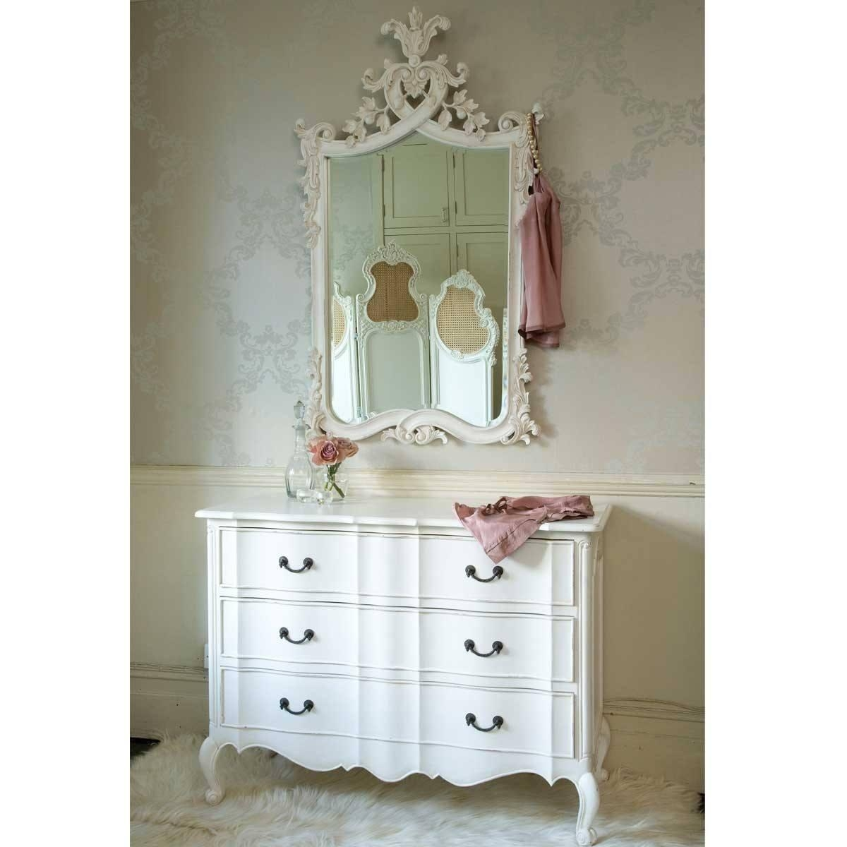 Provencal Heart Top White Mirror | Luxury Mirror For White French Mirror (View 11 of 20)