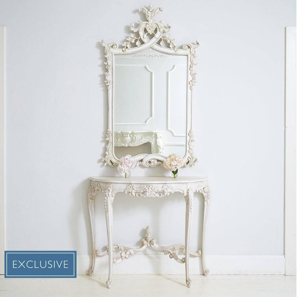 Provencal Heart Top White Mirror | Luxury Mirror Pertaining To White French Mirror (Image 13 of 20)