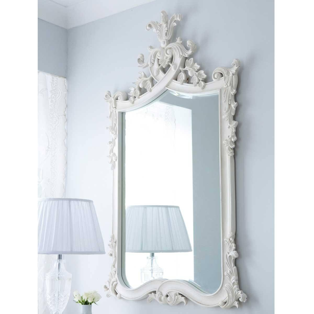 Provencal Heart Top White Mirror | Luxury Mirror With Regard To French Wall Mirror (Image 16 of 20)