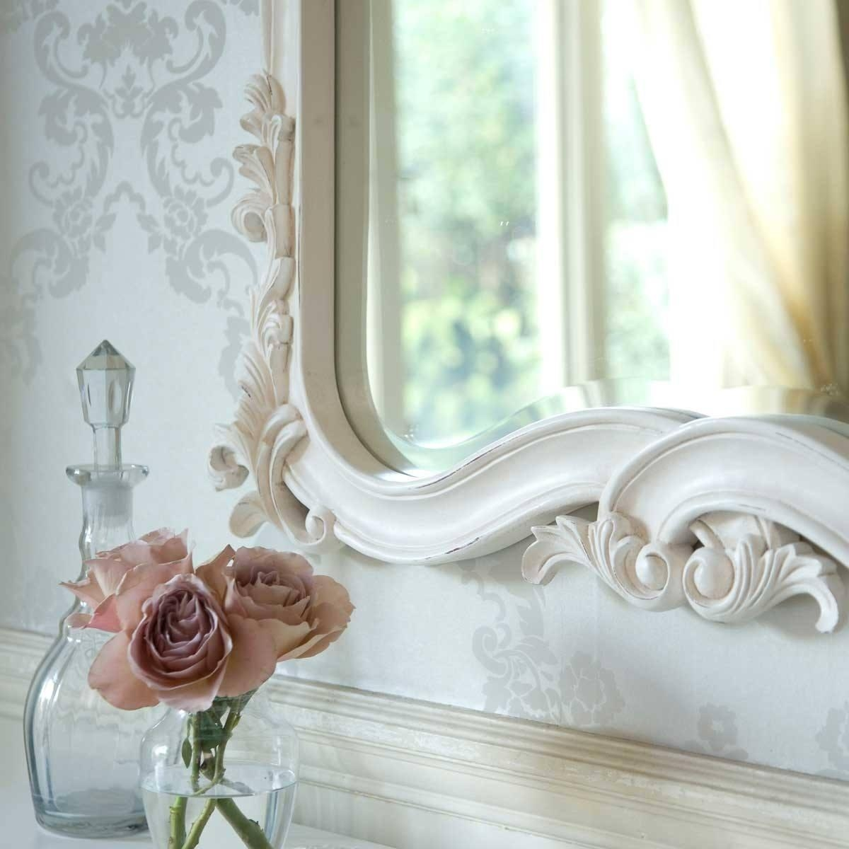Provencal Heart Top White Mirror | Luxury Mirror With White French Mirror (Image 15 of 20)