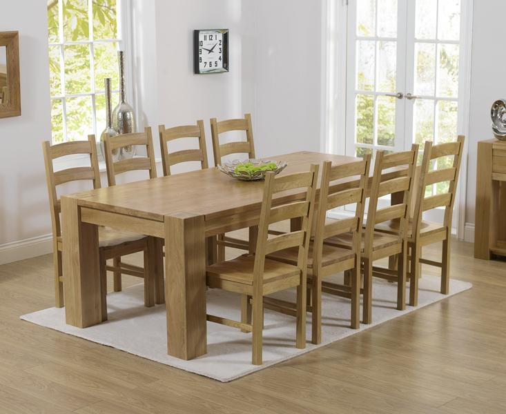 Provence Solid Chunky Oak Extra Large Dining Table And 10 Arizona Regarding 8 Seater Oak Dining Tables (Image 17 of 20)