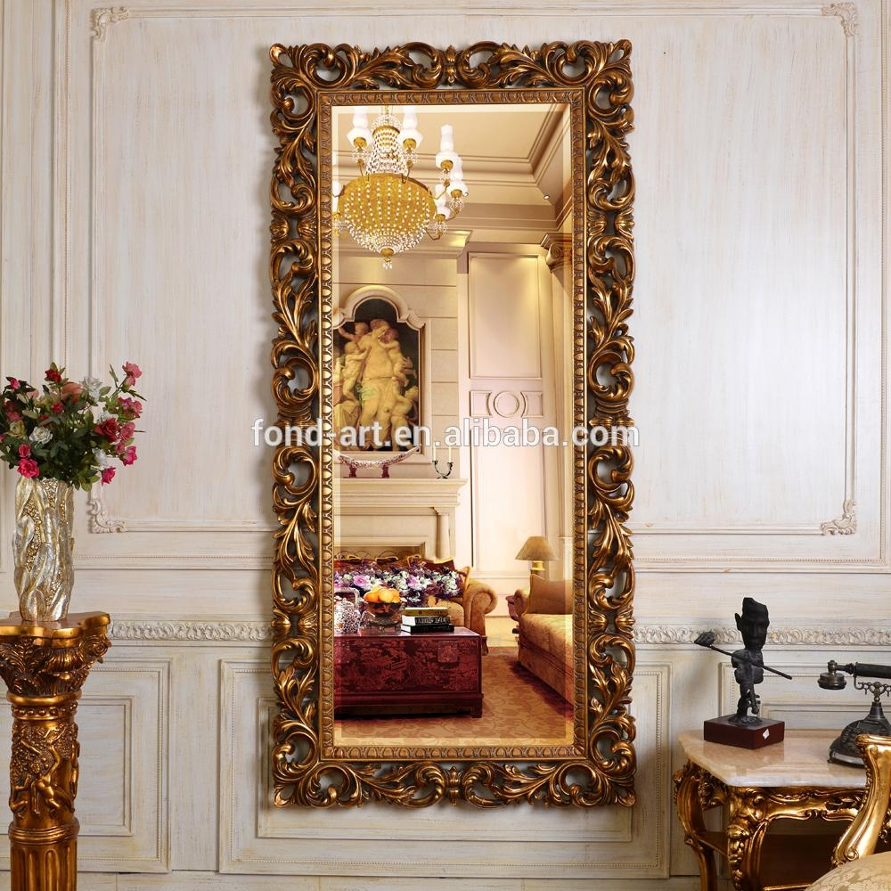 Pu613 China Factory Full Length Antique Gold Wall Mirror For Sale Regarding Gold Full Length Mirror (Image 17 of 20)