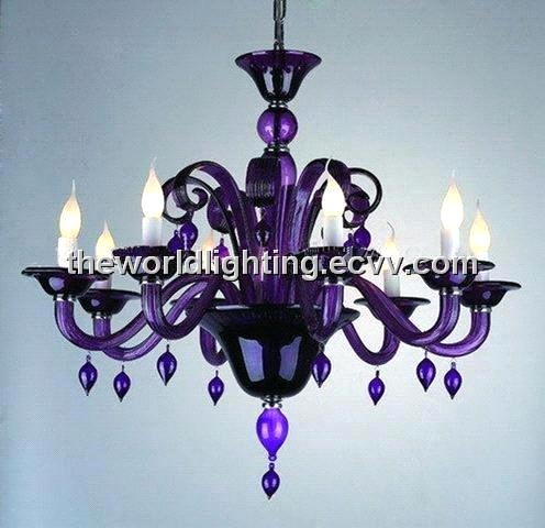 Purple Glass Chandelier With 8 Lights Chg0005 Chg0005 China Pertaining To Purple Crystal Chandeliers (View 9 of 25)