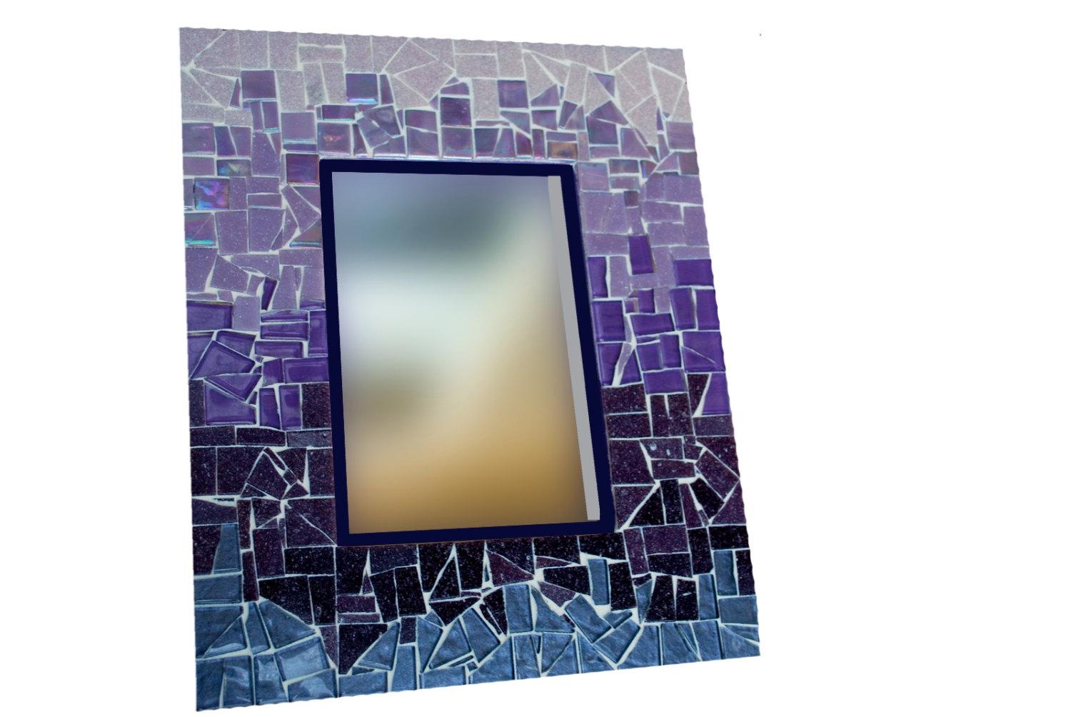 Purple Ombre Mosaic Mirror Large Wall Mirror Colorful Home Within Large Mosaic Mirror (Image 16 of 20)