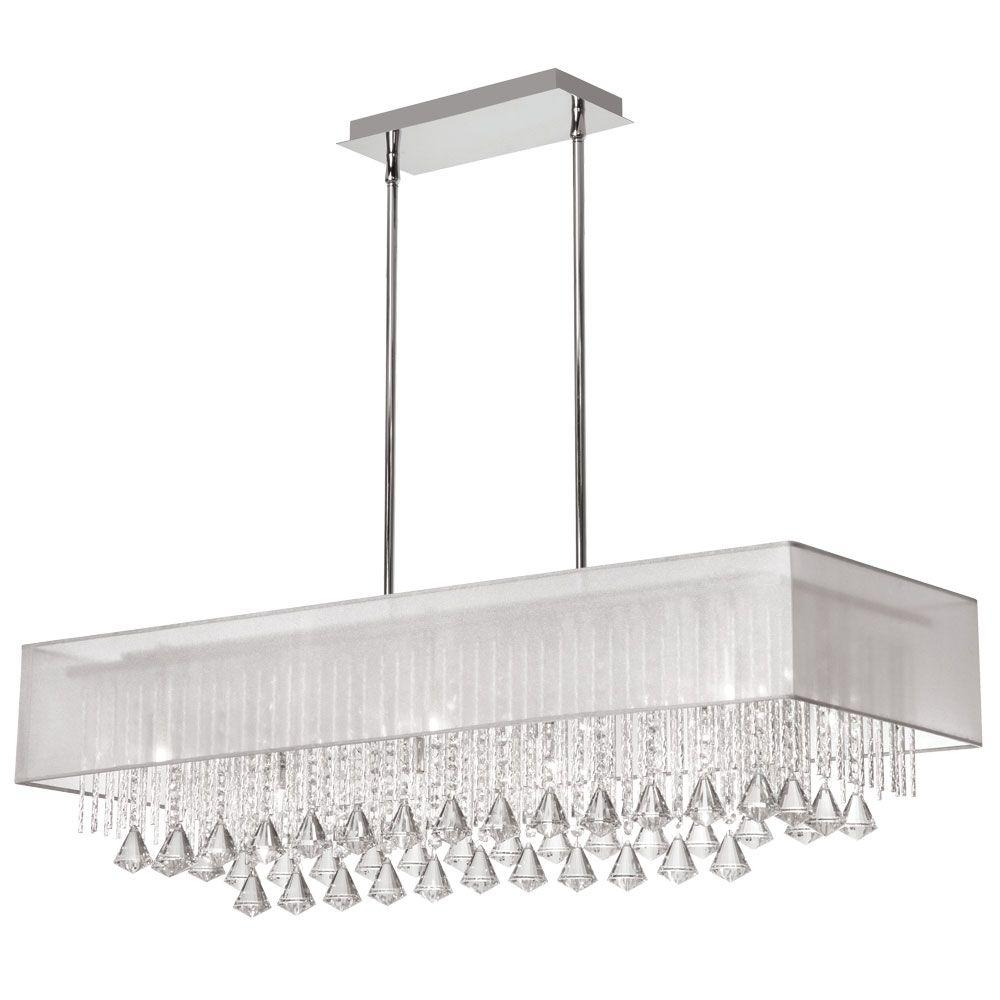 Radionic Hi Tech Jacqueline 10 Light Polished Chrome Crystal In Linen Chandeliers (Image 21 of 25)