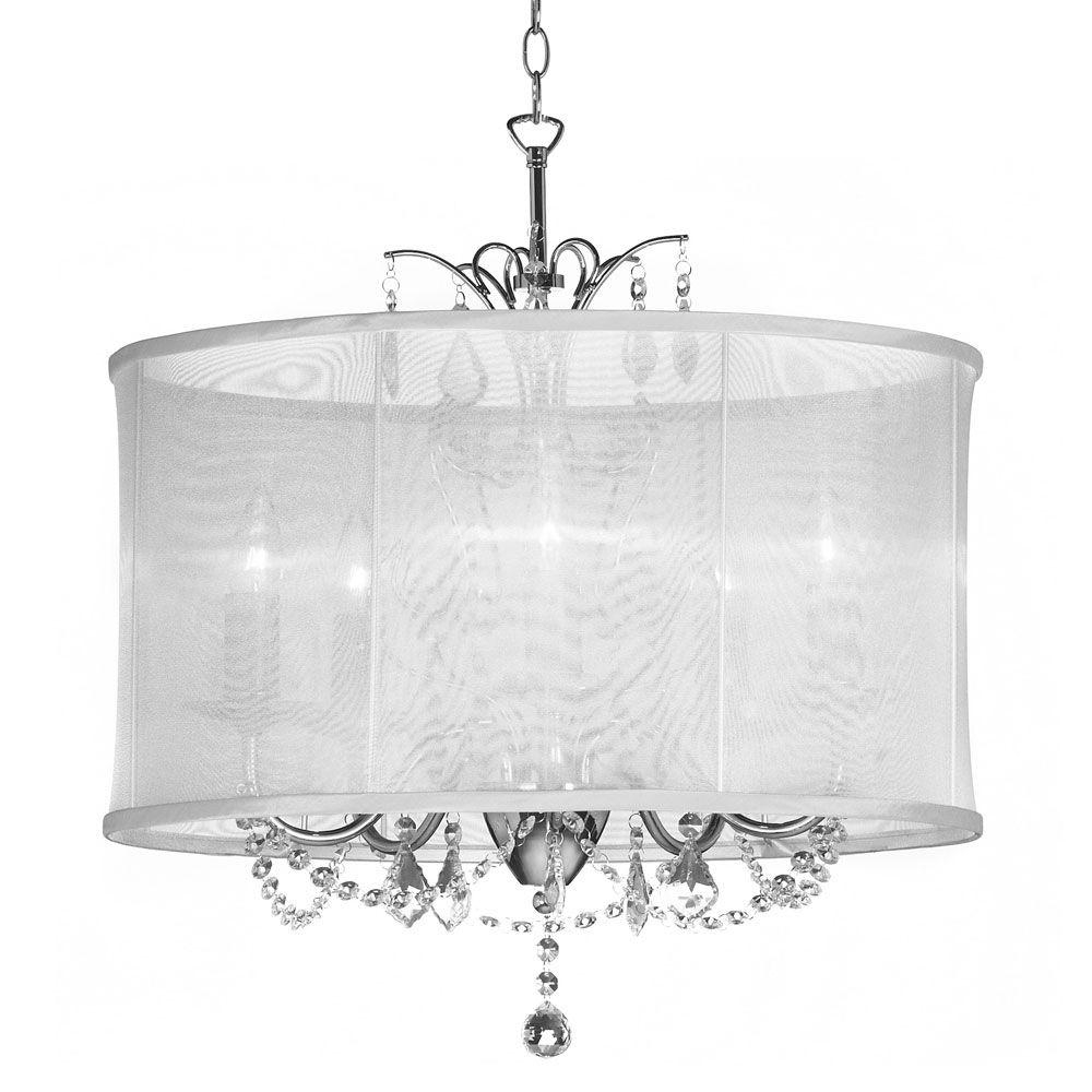 Radionic Hi Tech Vanessa 5 Light Polished Chrome Maple Droplets With Chandelier With Shades And Crystals (Image 25 of 25)