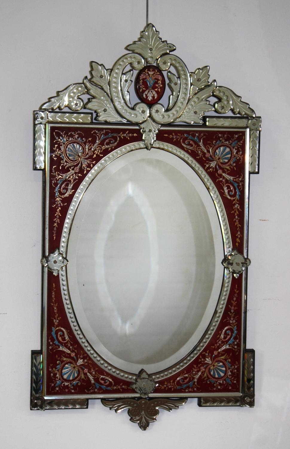 Rare Red Framed Antique Venetian Mirror For Venetian Mirrors Antique (Image 15 of 20)