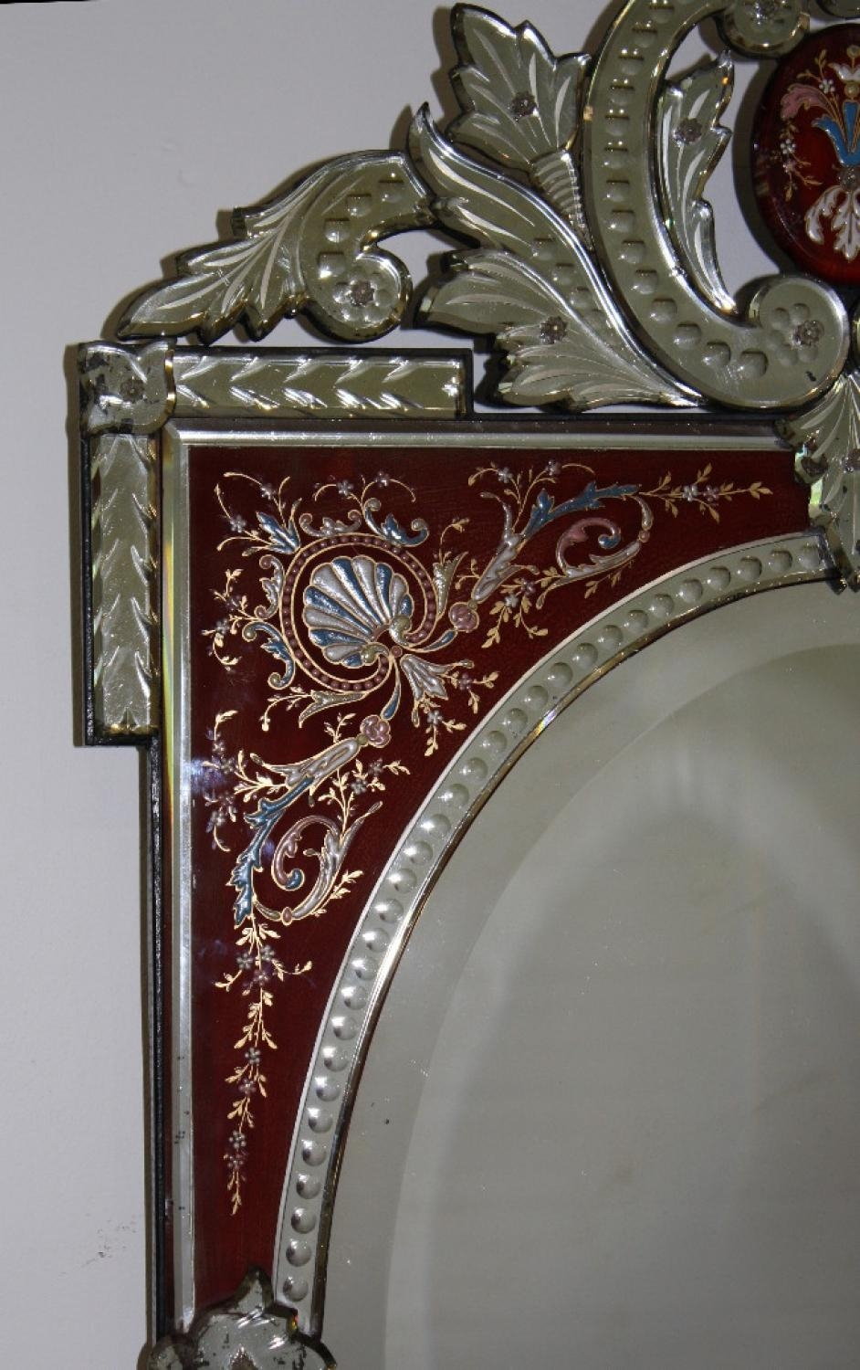 Rare Red Framed Antique Venetian Mirror Intended For Venetian Mirrors Antique (Image 16 of 20)