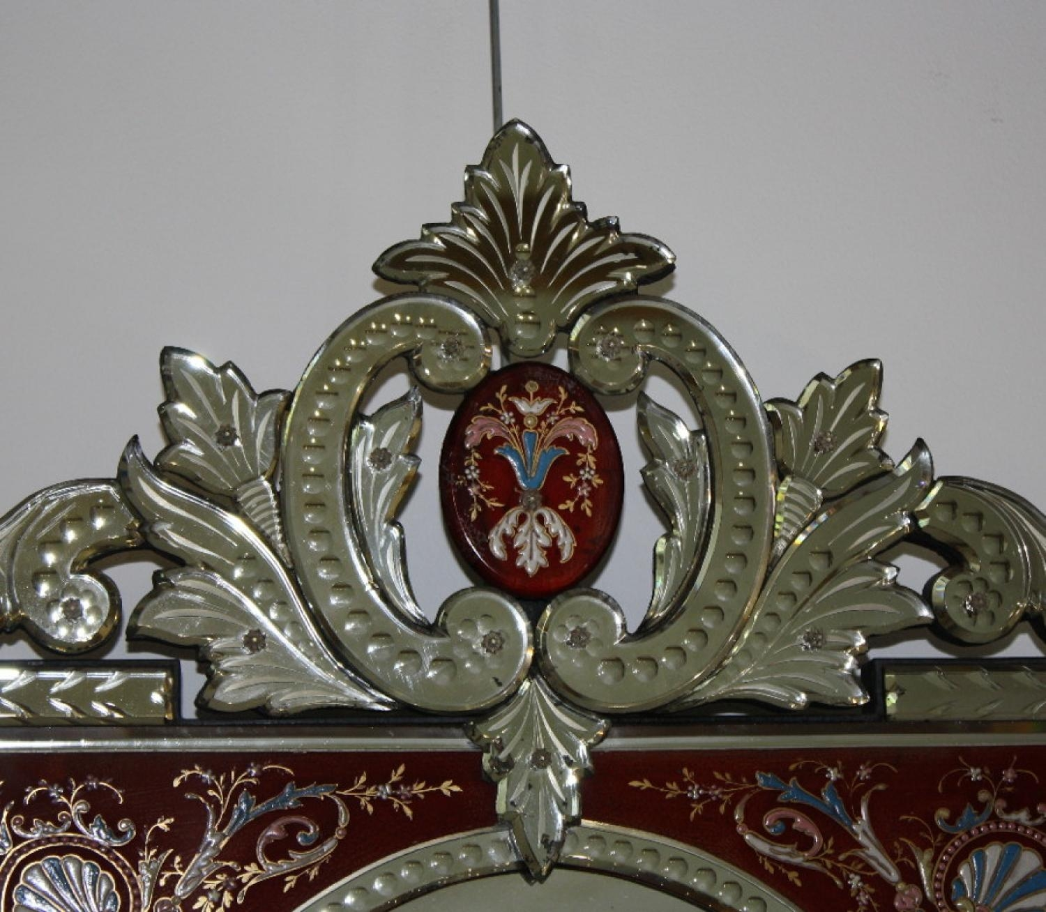 Rare Red Framed Antique Venetian Mirror Pertaining To Venetian Mirrors Antique (Image 17 of 20)