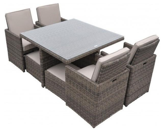 Rattan Cushioned Garden Patio Furniture Outdoor Dining Table Cube Inside Cube Dining Tables (View 5 of 20)