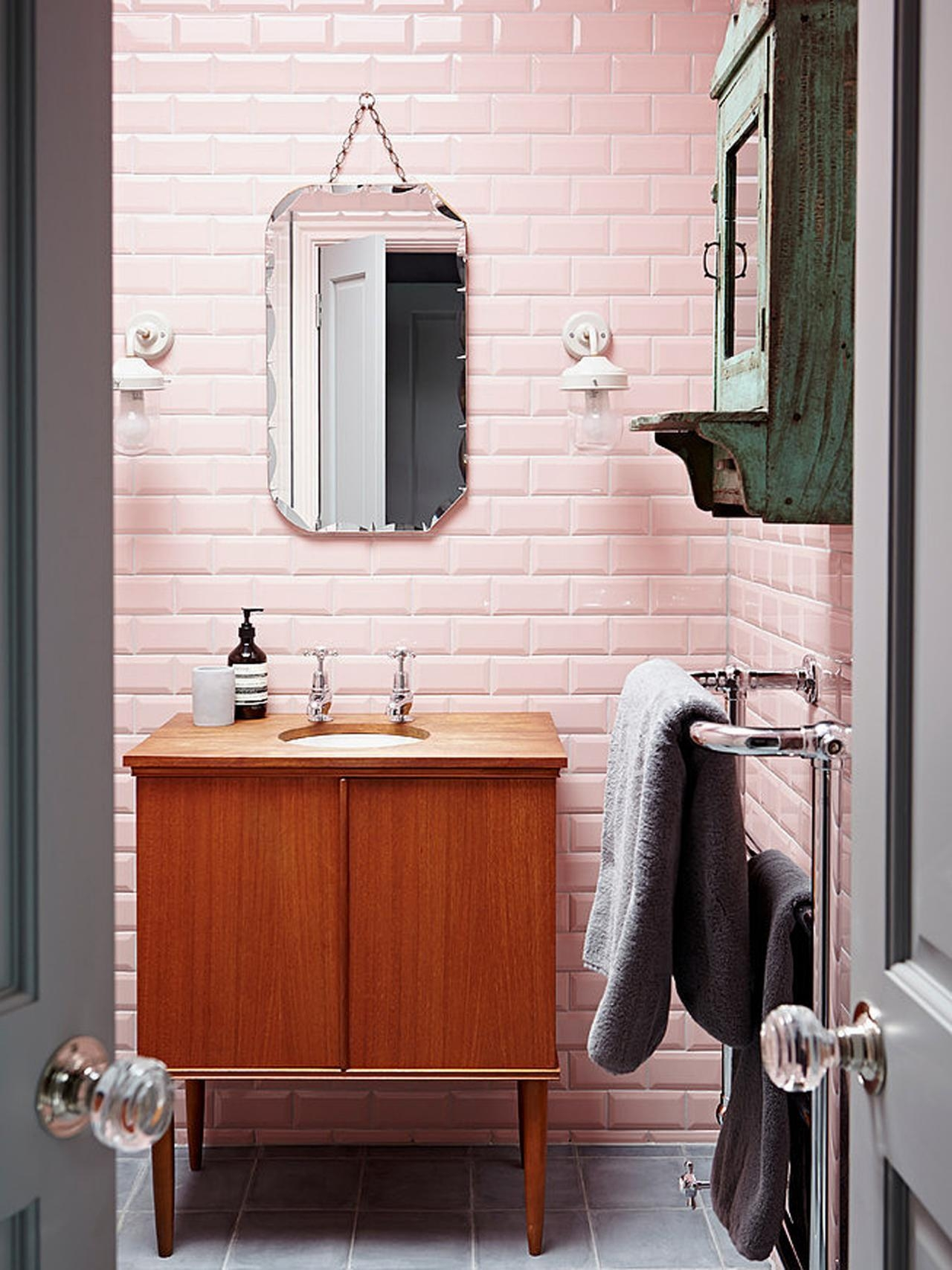 Reasons To Love Retro Pink Tiled Bathrooms | Hgtv's Decorating Intended For Retro Bathroom Mirror (Image 14 of 20)