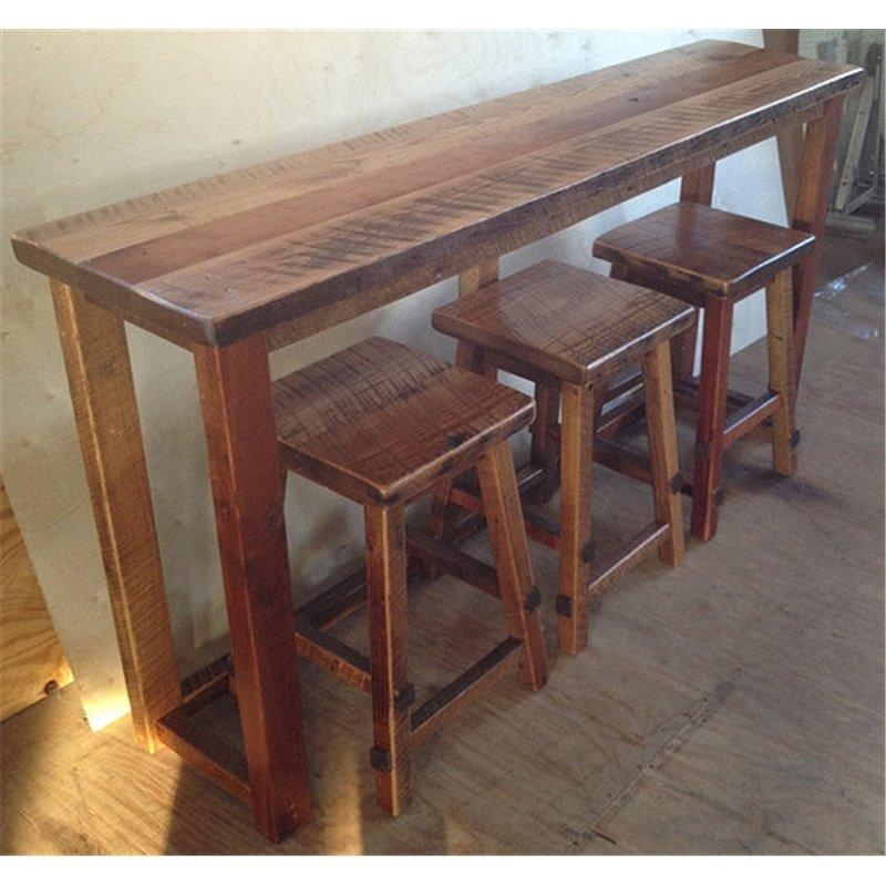 Reclaimed Barn Wood Breakfast Bar With 3 Stools Regarding Counter Height Sofa Tables (Image 13 of 20)