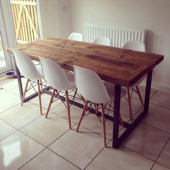 Reclaimed Industrial Chic 6 8 Seater Solid Wood And Metal Dining Regarding Cheap 8 Seater Dining Tables (Image 18 of 20)
