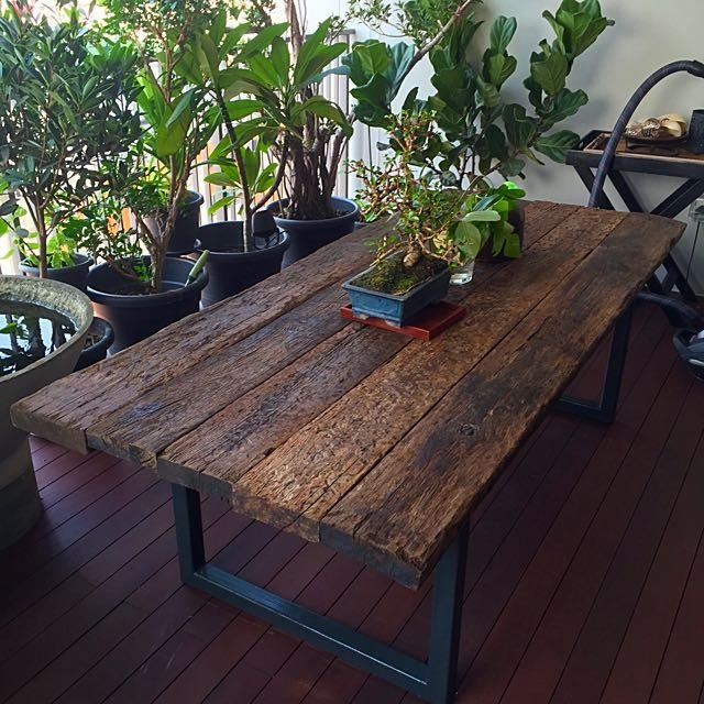 Reclaimed Railway Sleeper Wood Dining Table, Furniture & Home On With Railway Dining Tables (Image 14 of 20)