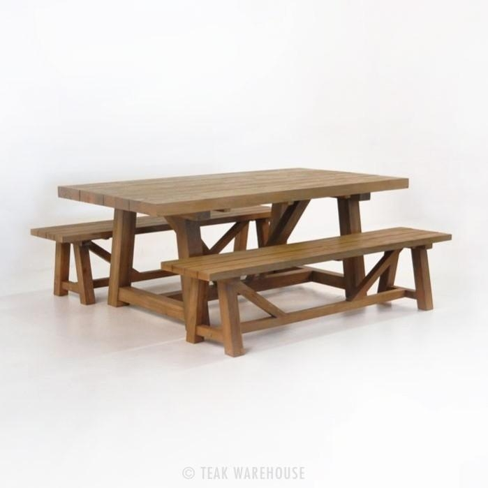 Reclaimed Teak Dining Table With Benches | Teak Warehouse In Dining Tables And 2 Benches (Photo 14 of 20)