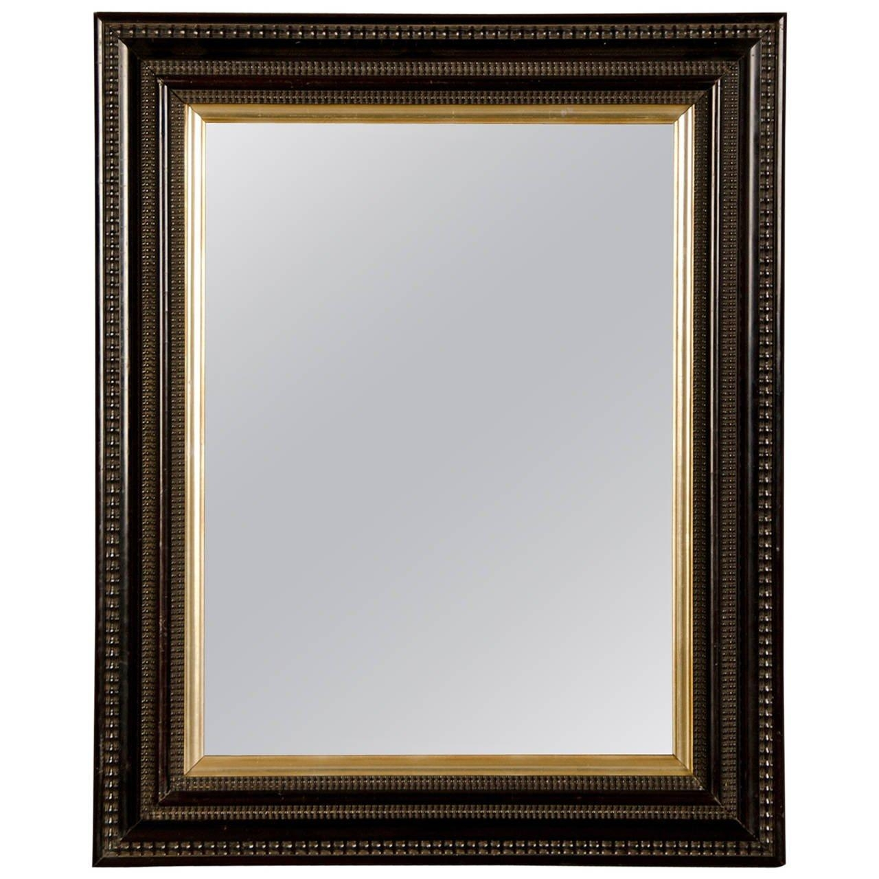 Rectangular Antique Dutch Black Frame Mirror, Circa 1875 At 1Stdibs With Regard To Black Antique Mirror (Image 17 of 20)
