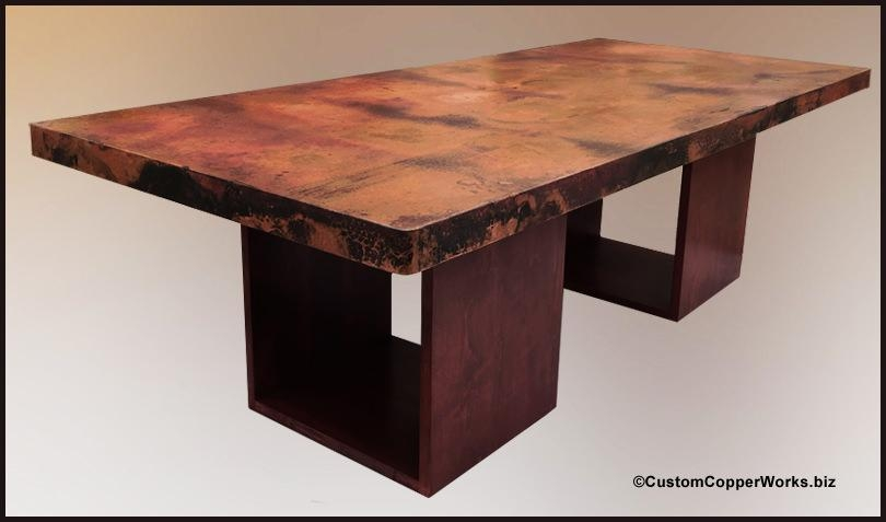 Rectangular, Copper Dining Table; Wood, Cube Table Base 1 7 Within Cube Dining Tables (Image 15 of 20)