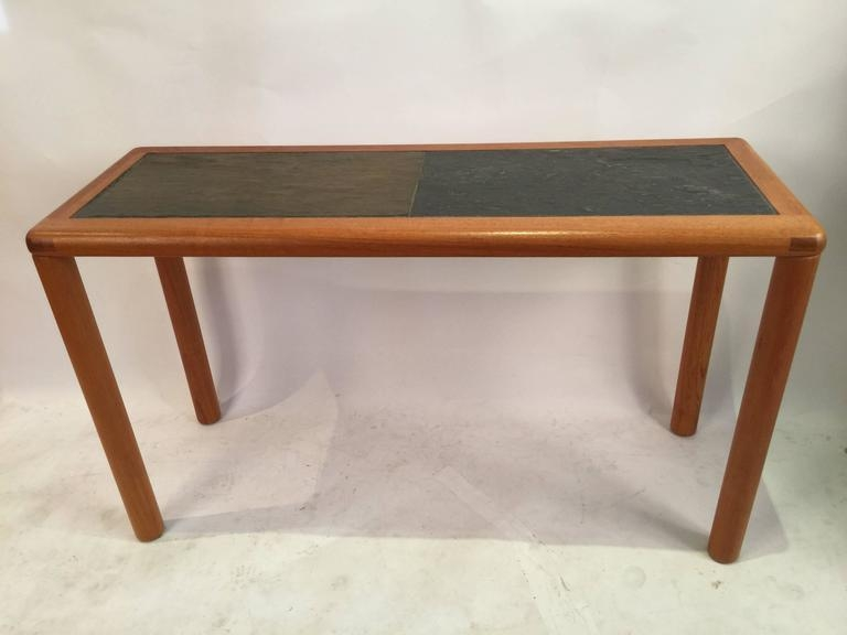 Rectangular Teak And Slate Tablehaslev For Sale At 1Stdibs With Regard To Slate Sofa Tables (Image 9 of 20)