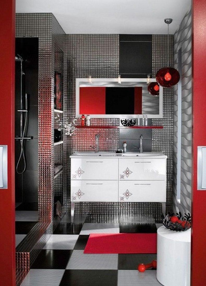 Red Bathroom Wall Decor Round Wall Mounted Double Glass Mirror In Red Wall Mirror (View 17 of 20)