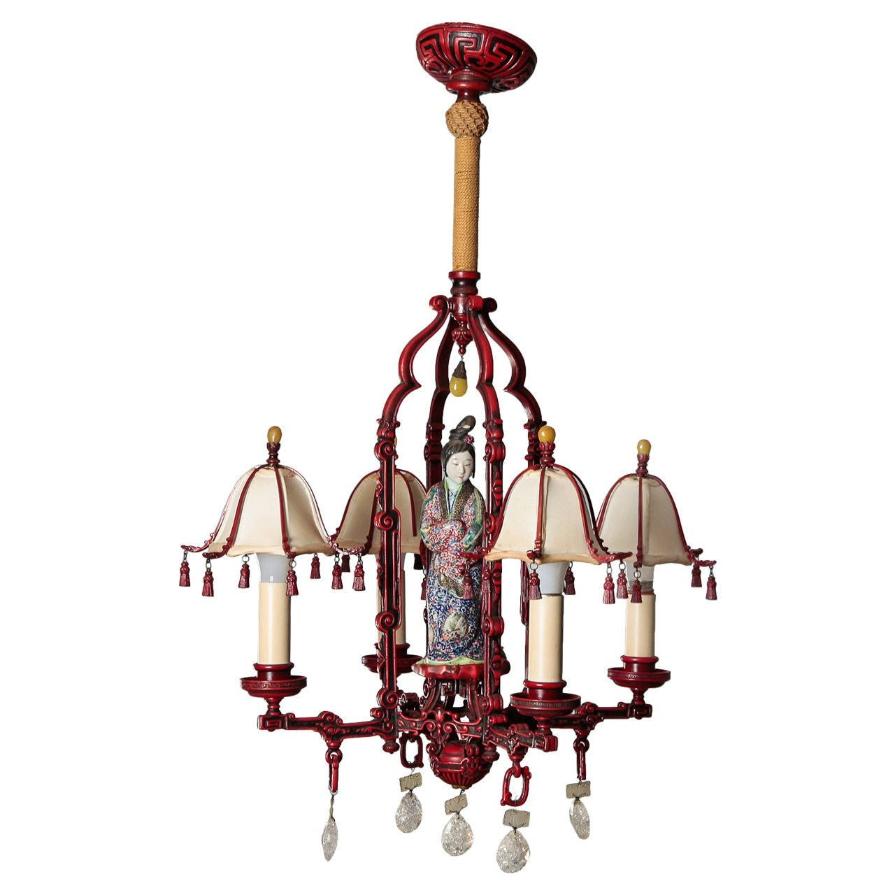 Red Chinoiserie Figural Chandelier With Original Shades And Rock Inside Chinoiserie Chandeliers (Image 19 of 25)
